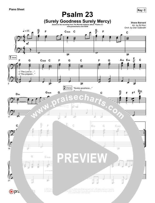 Psalm 23 (Surely Goodness) Piano Sheet (Shane & Shane / The Worship Initiative)