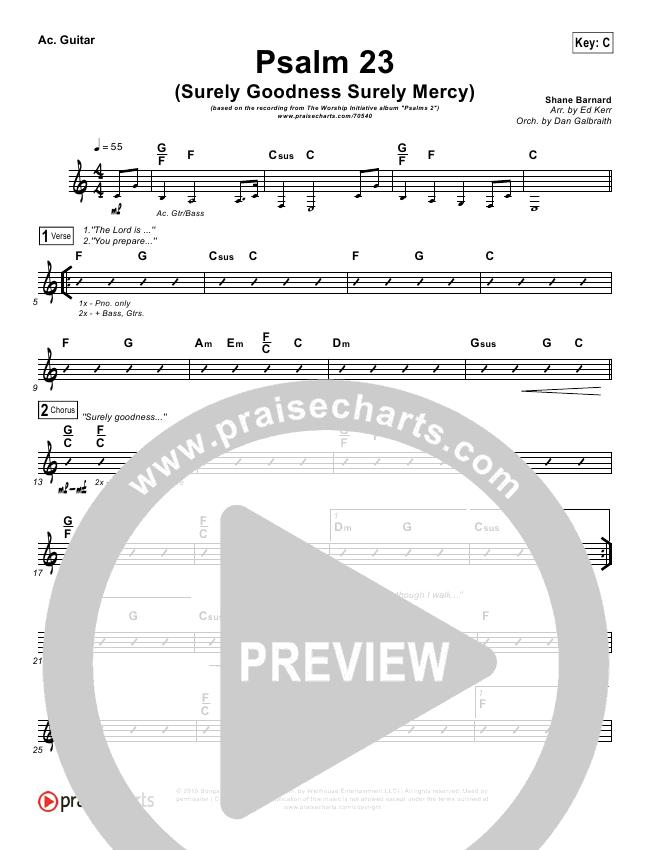 Psalm 23 (Surely Goodness) Rhythm Chart (Shane & Shane / The Worship Initiative)