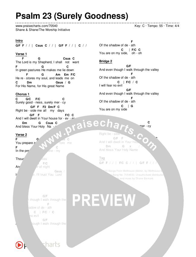 Psalm 23 (Surely Goodness) Chords & Lyrics (Shane & Shane / The Worship Initiative)