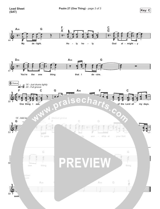 Psalm 27 (One Thing) Lead Sheet (SAT) (Shane & Shane / The Worship Initiative)
