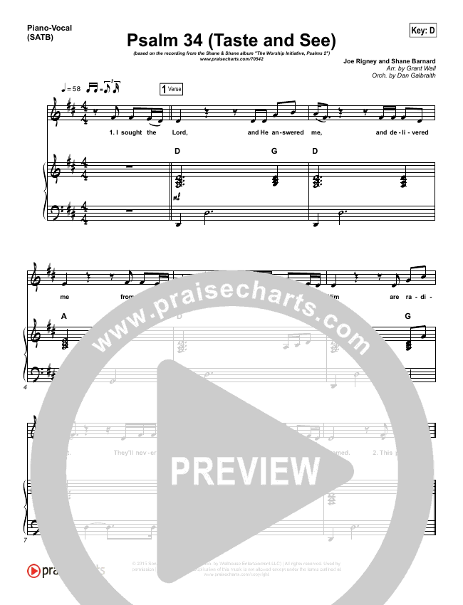Psalm 34 (Taste and See) Piano/Vocal (SATB) (Shane & Shane / The Worship Initiative)