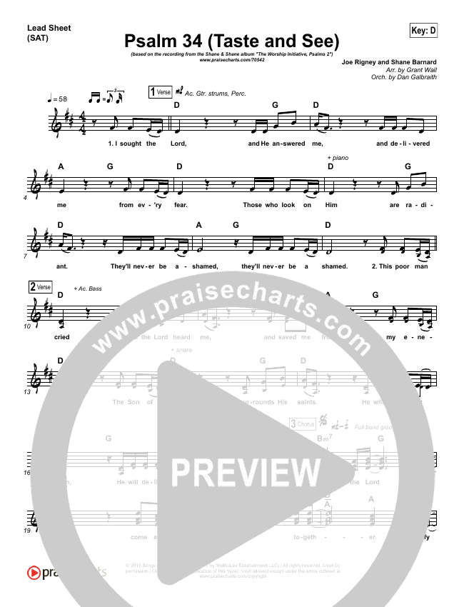 Psalm 34 (Taste and See) Piano/Vocal Pack (Shane & Shane / The Worship Initiative)