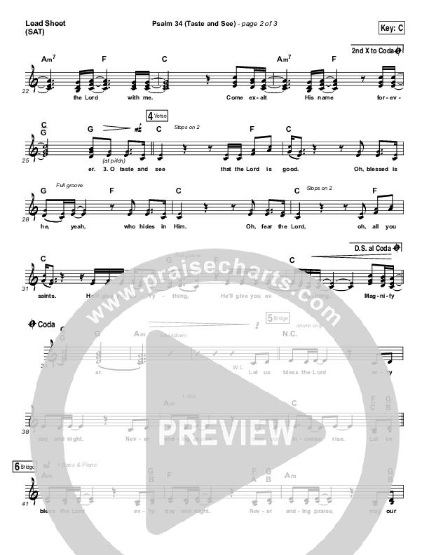 Psalm 34 (Taste and See) Lead Sheet (SAT) (Shane & Shane / The Worship Initiative)
