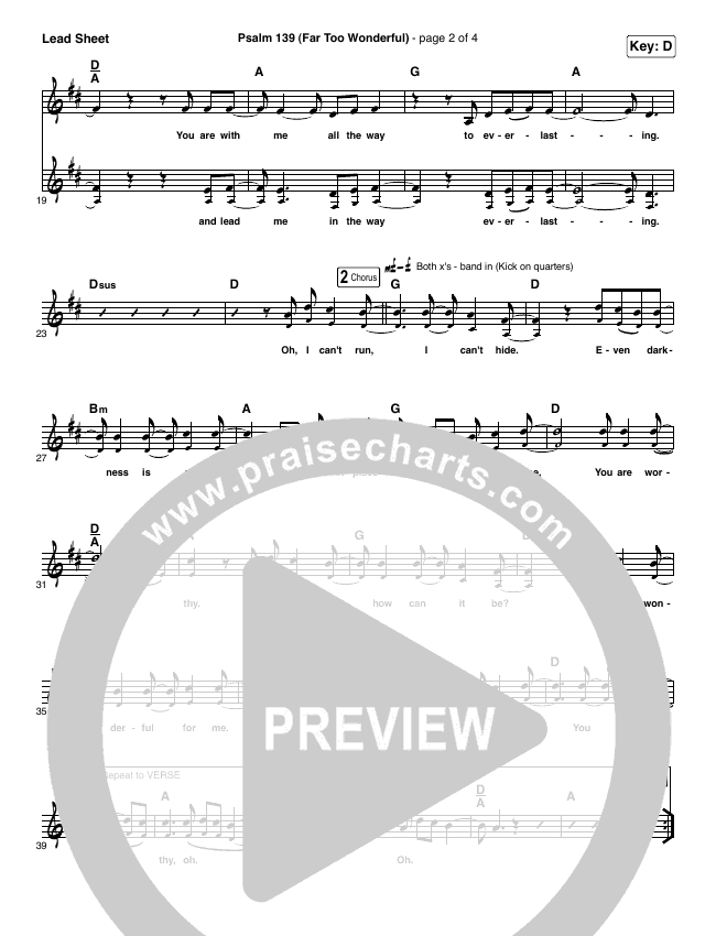 Psalm 139 (Far Too Wonderful) Lead (SAT) (Shane & Shane / The Worship Initiative)