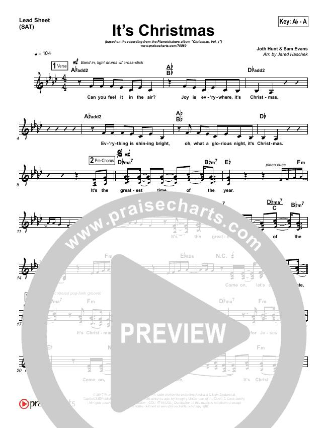 It's Christmas Lead Sheet (SAT) (Planetshakers / Joth Hunt)