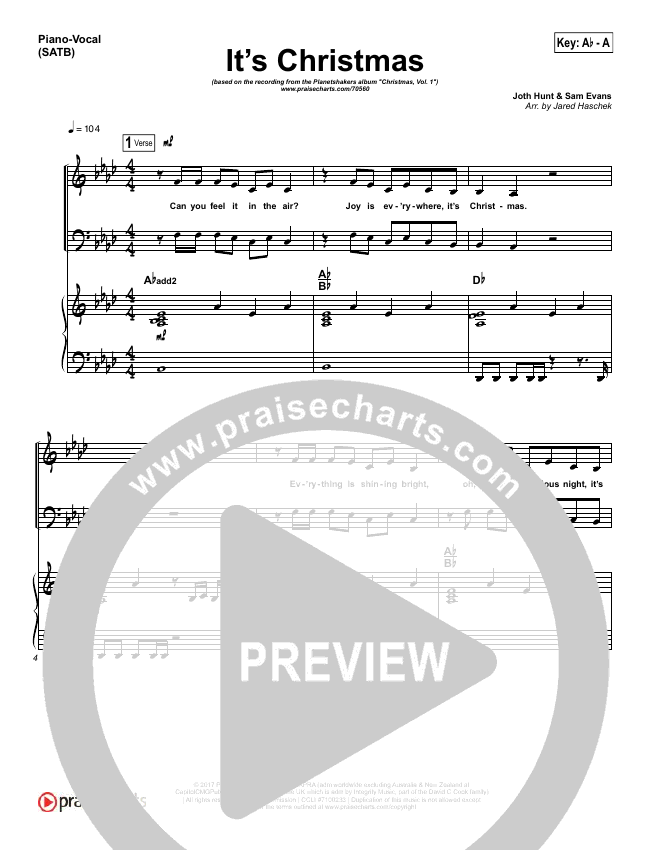 It's Christmas Piano/Vocal (SATB) (Planetshakers / Joth Hunt)