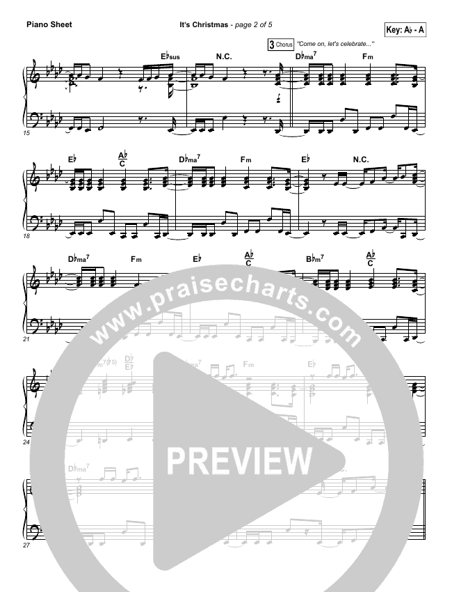 It's Christmas Piano Sheet (Planetshakers / Joth Hunt)