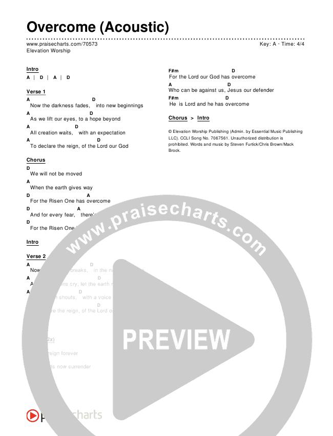 Overcome (Acoustic) Chords & Lyrics (Elevation Worship)