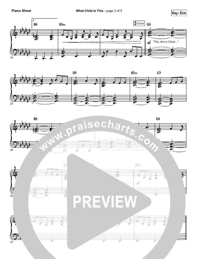 What Child Is This Piano Sheet (The Worship Initiative / Shane & Shane)