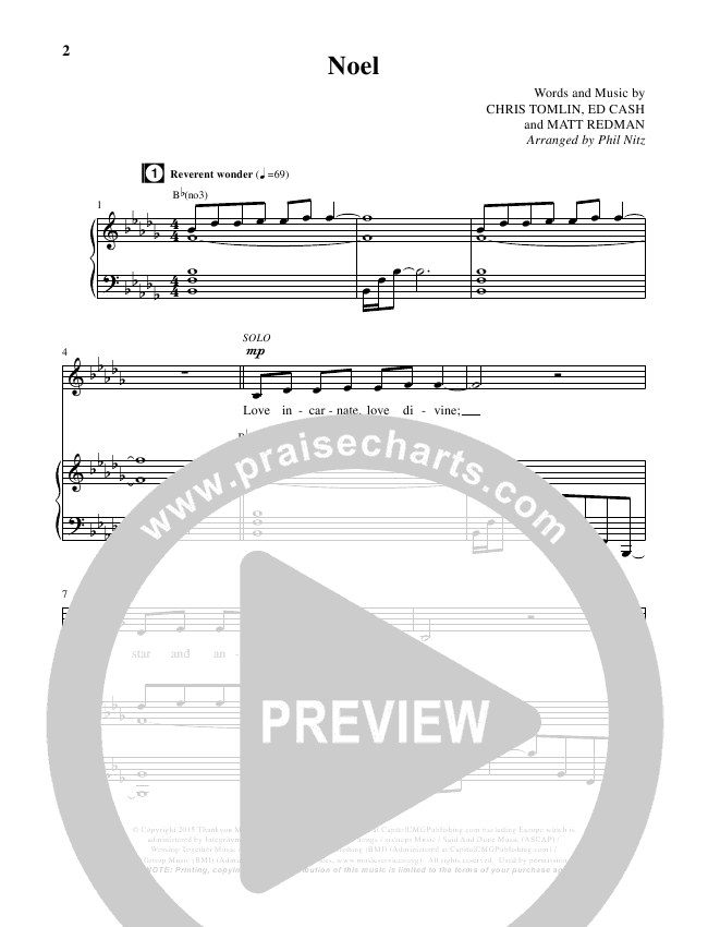 Noel (Choral) Piano Vocal (Lauren Daigle / Brentwood-Benson Choral / Arr. Phil Nitz)
