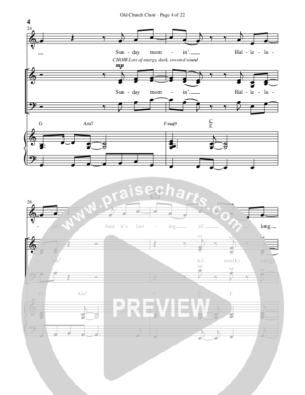 Old Church Choir (Choral) Piano Vocal (Zach Williams / Brentwood Benson Choral / Arr. Christopher Phillips)