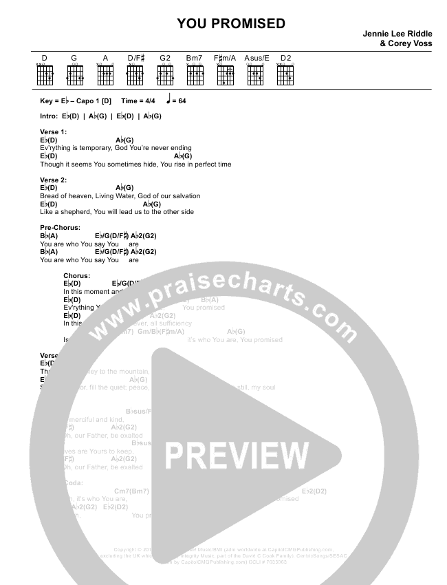 You Promised Chord Chart (Corey Voss)