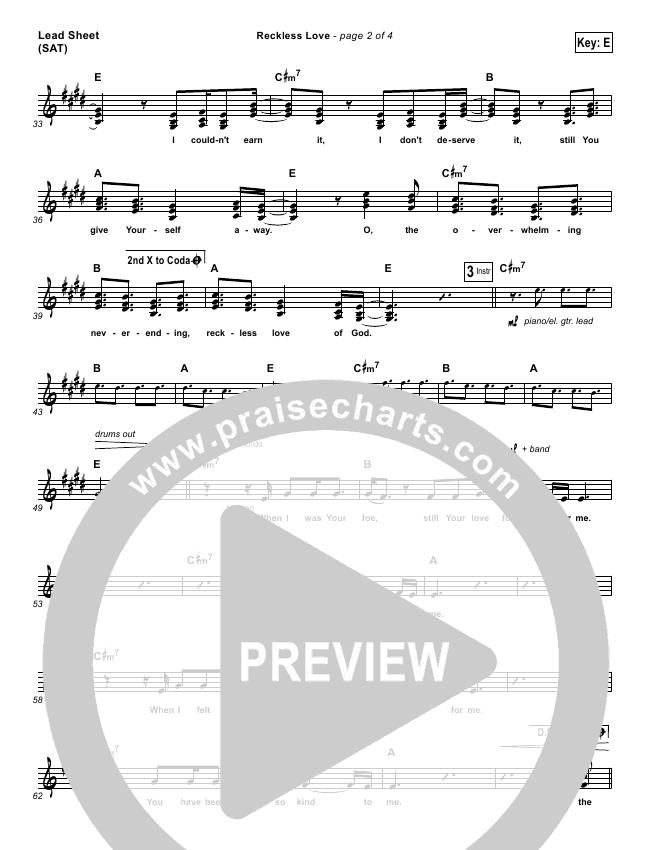 reckless love chords pdf