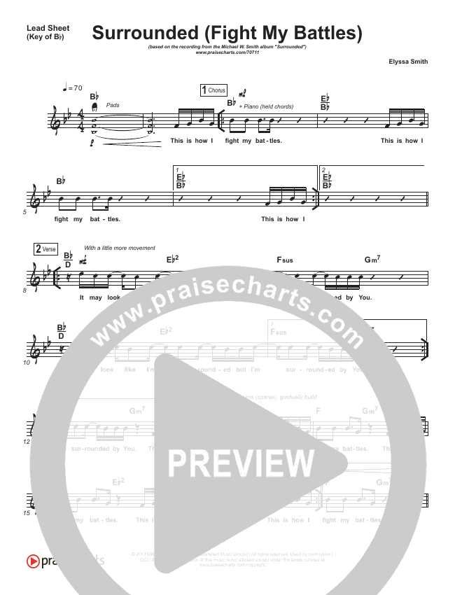 Surrounded (Fight My Battles) Lead Sheet (Melody) (Michael W. Smith)