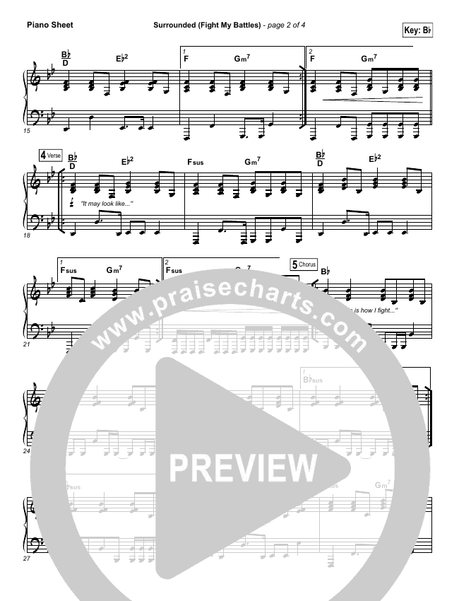 Surrounded (Fight My Battles) Piano Sheet (Michael W. Smith)