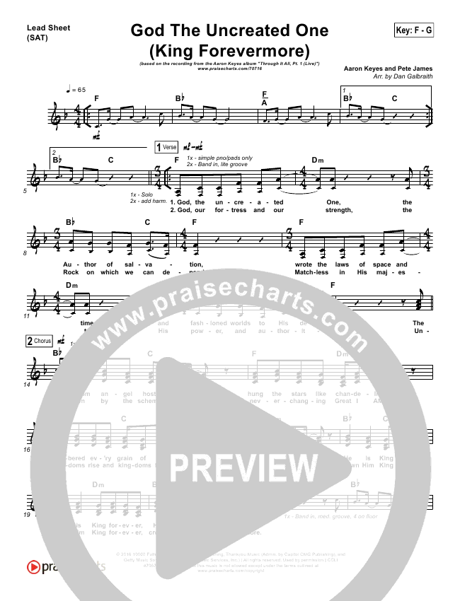 God The Uncreated One King Forevermore Lead Sheet Pianovocal