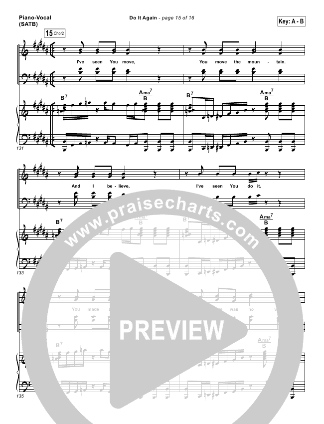 do it again lead sheet amp pianovocal elevation