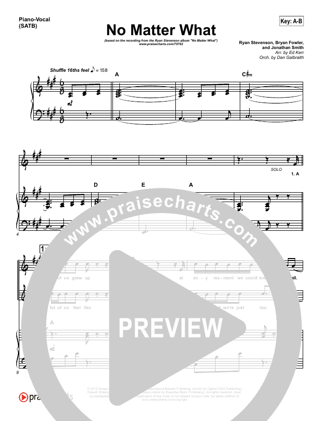 No Matter What Piano/Vocal (SATB) (Ryan Stevenson)