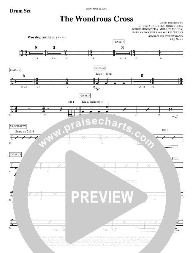The Wondrous Cross (Choral) Orchestration (Christy Nockels / Brentwood-Benson Choral / Arr. Cliff Duren)