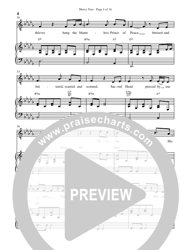 Mercy Tree (Choral) Piano Vocal (Brentwood-Benson Choral / Arr. Bradley Knight)