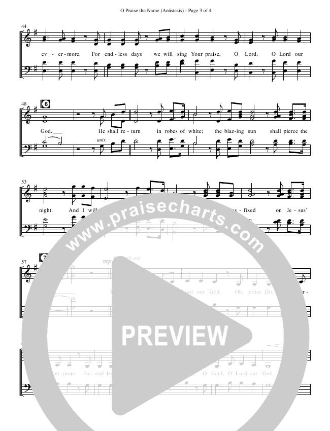 O Praise The Name (Anastasis) (Choral) Choir Sheet (SATB) (Hillsong Worship / Brentwood-Benson Choral / Arr. David Clydesdale)