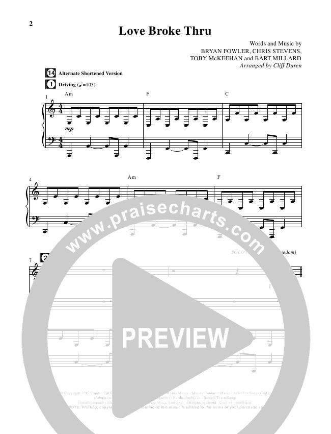 Love Broke Thru (Choral) Piano Vocal (TobyMac / Brentwood-Benson Choral / Arr. Cliff Duren)