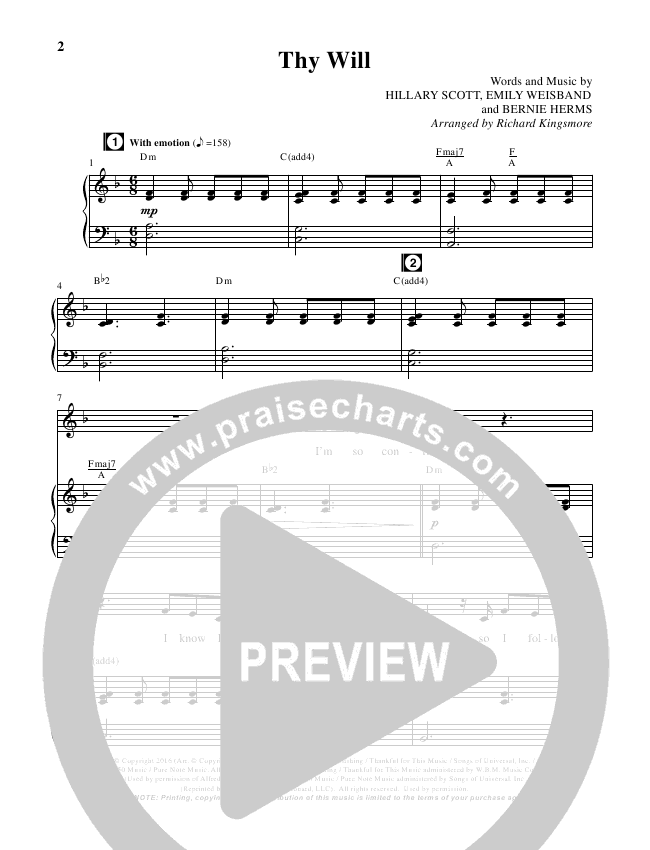 Thy Will (Choral) Piano Vocal (Hillary Scott / Brentwood Benson Choral / Arr. Richard Kingsmore)