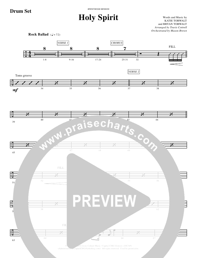Holy Spirit  (Choral) Orchestration (Travis Cottrell / Brentwood-Benson Choral)