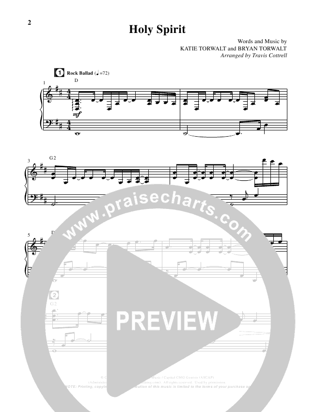 Holy Spirit  (Choral) Piano Vocal (Travis Cottrell / Brentwood-Benson Choral)