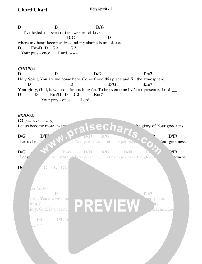 Holy Spirit  (Choral) Chord Chart (Travis Cottrell / Brentwood-Benson Choral)