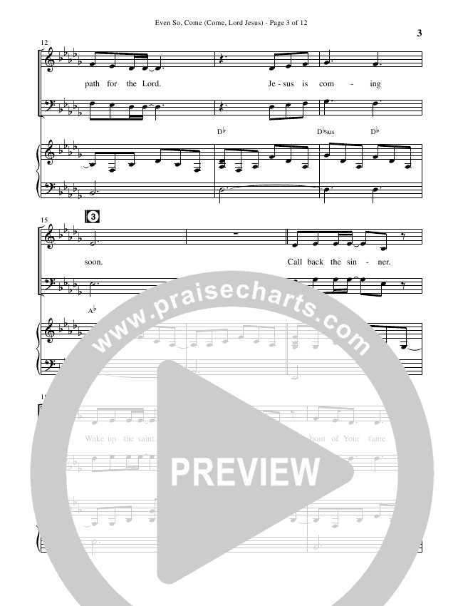 Even So Come (Choral) Piano Vocal (Passion / Brentwood-Benson Choral / Arr. Cliff Duren)