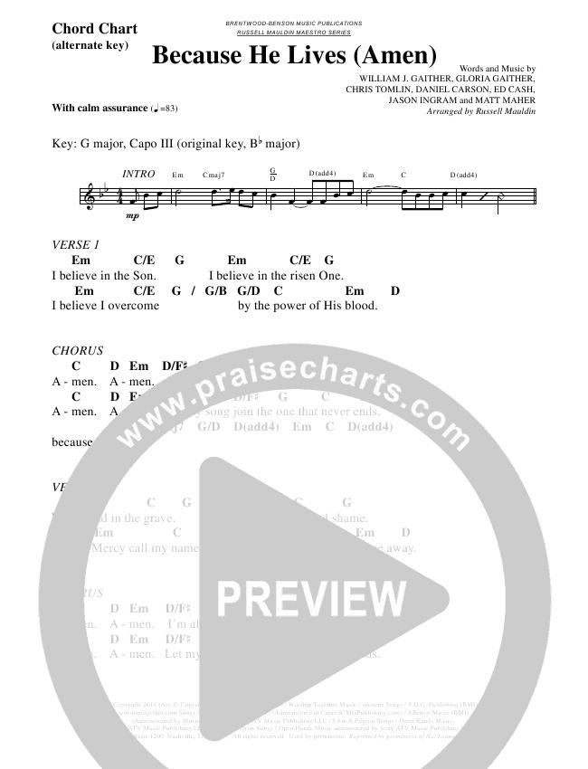 Because He Lives (Amen) (Choral) Chord Chart (Matt Maher / Brentwood Benson Choral / Arr. Russell Mauldin)