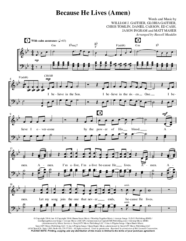 Because He Lives (Amen) (Choral) Choir Sheet (SATB) (Matt Maher / Brentwood Benson Choral / Arr. Russell Mauldin)
