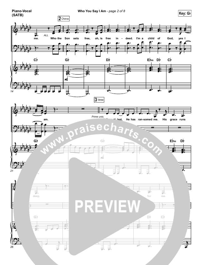 Who You Say I Am Piano/Vocal (SATB) (Hillsong Worship)