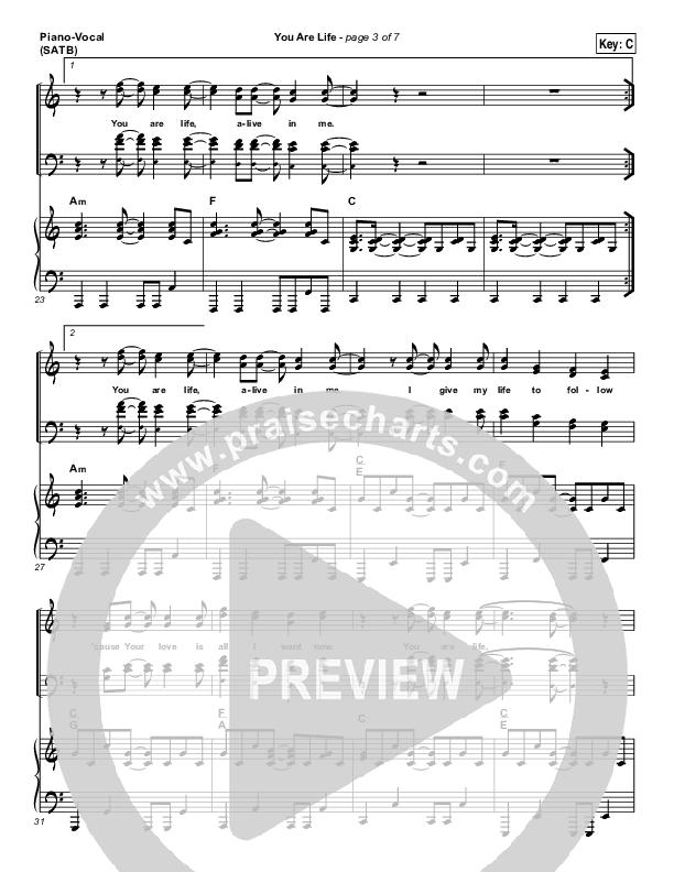 You Are Life Piano/Vocal (SATB) (Hillsong Worship)