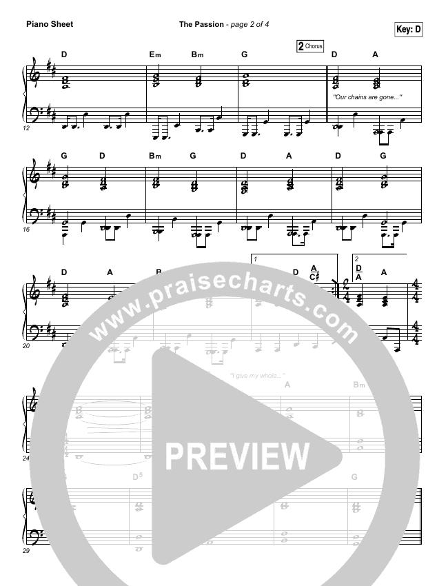 The Passion Piano Sheet (Hillsong Worship)