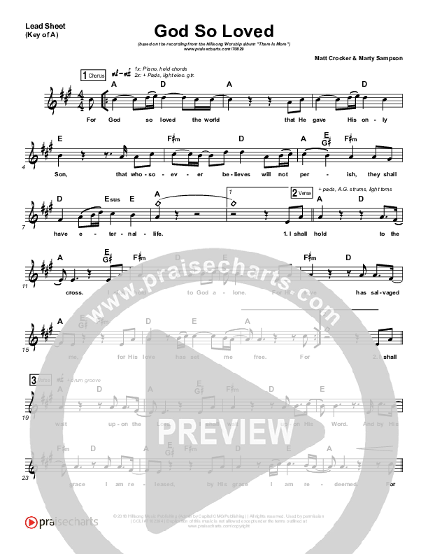 God So Loved Lead Sheet (Melody) (Hillsong Worship)