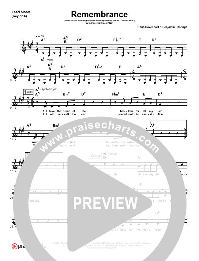 Remembrance Lead Sheet (SAT) (Hillsong Worship)