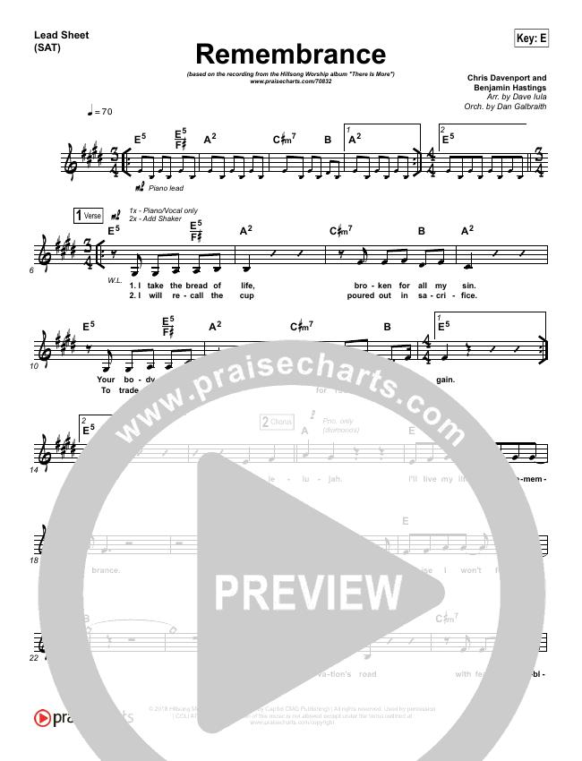 Remembrance (Live Acoustic) Lead Sheet (SAT) (Hillsong Worship)