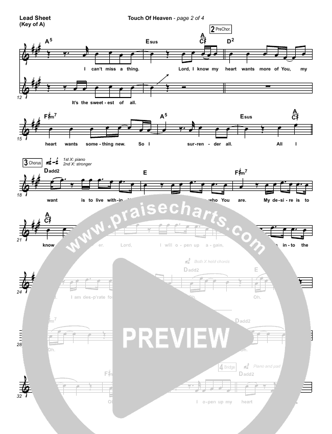 Touch Of Heaven Lead Sheet (Melody) (Hillsong Worship)