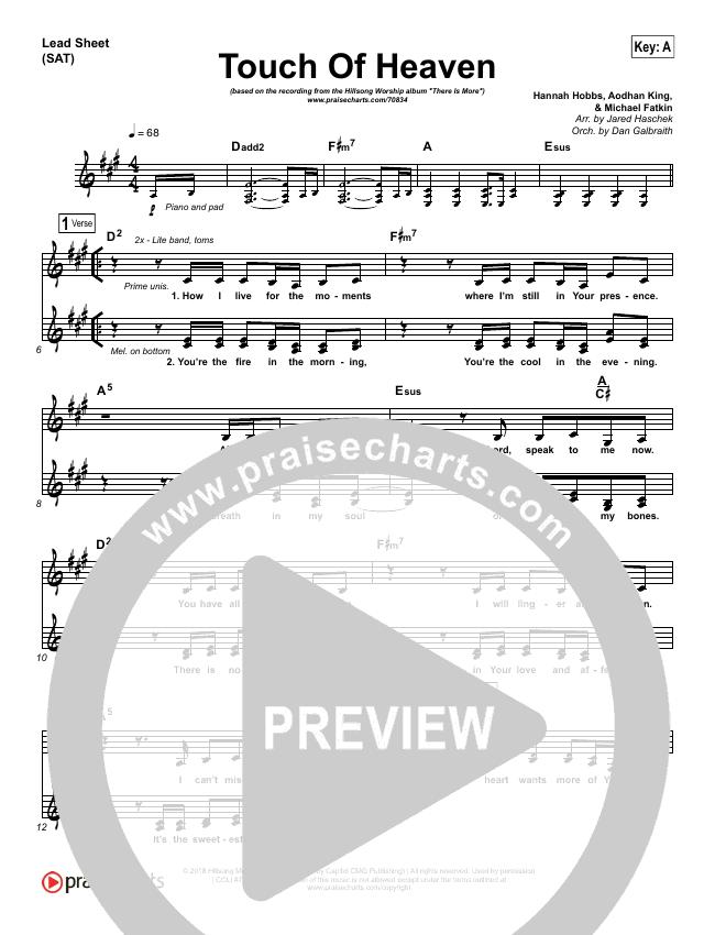 Touch Of Heaven Piano Sheet (Hillsong Worship)