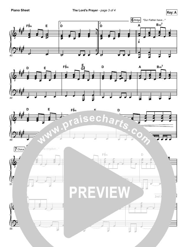 The Lord's Prayer Piano Sheet (Hillsong Worship)