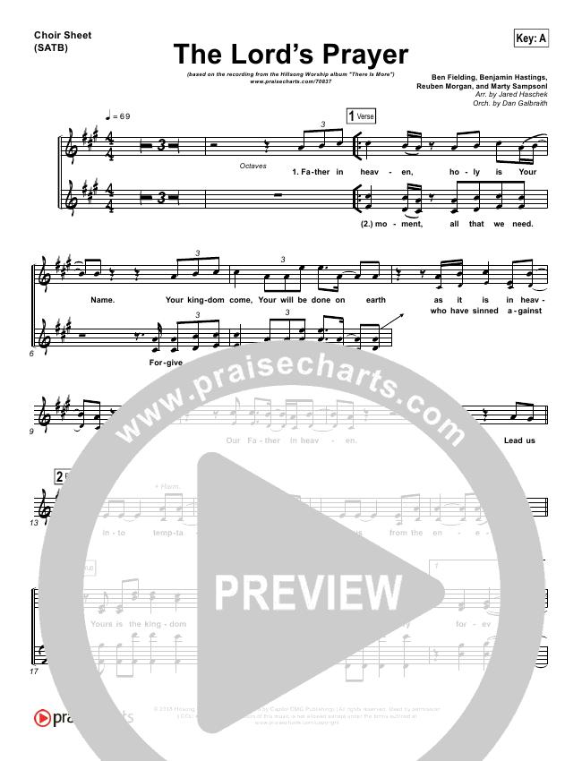 The Lord's Prayer Choir Sheet (SATB) (Hillsong Worship)