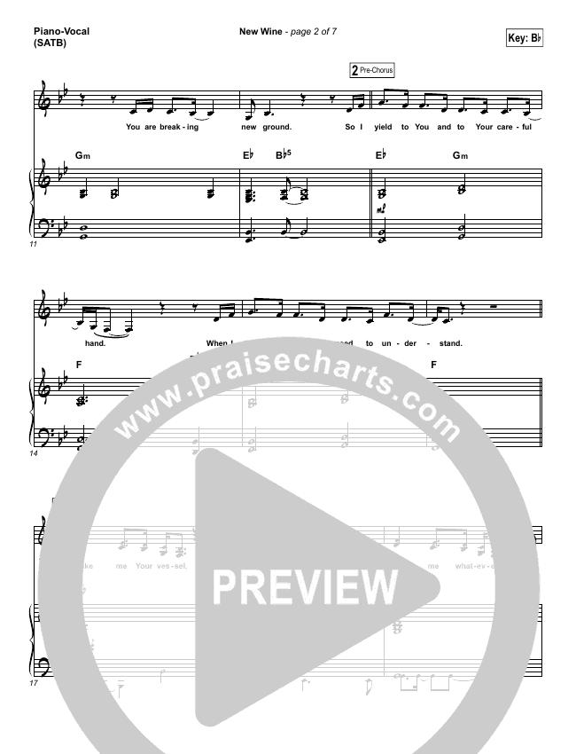 New Wine Piano/Vocal (SATB) (Hillsong Worship)