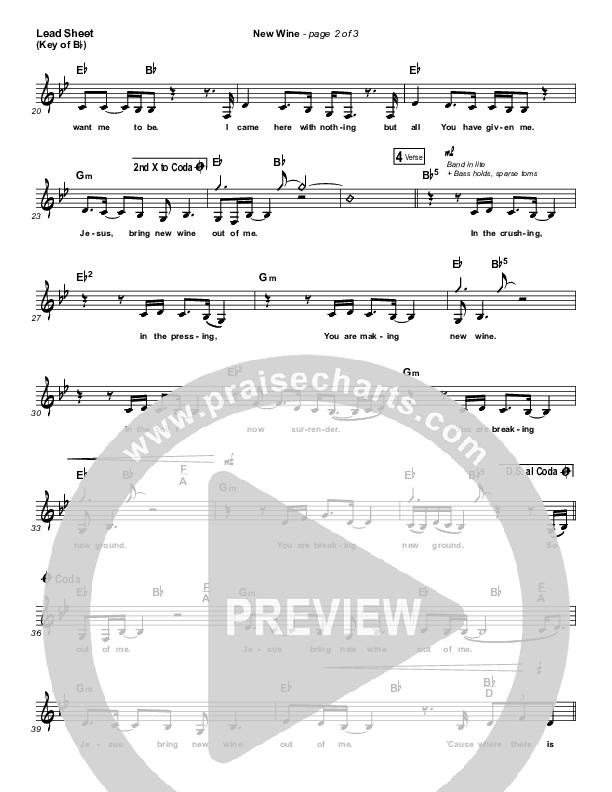 New Wine Lead Sheet (Melody) (Hillsong Worship)