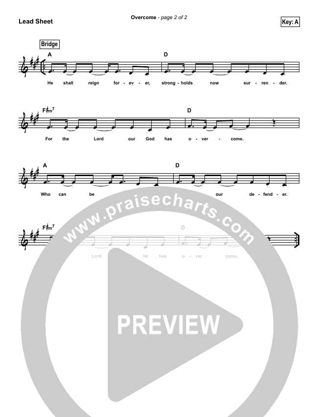 Overcome (Simplified) Lead Sheet (Elevation Worship)