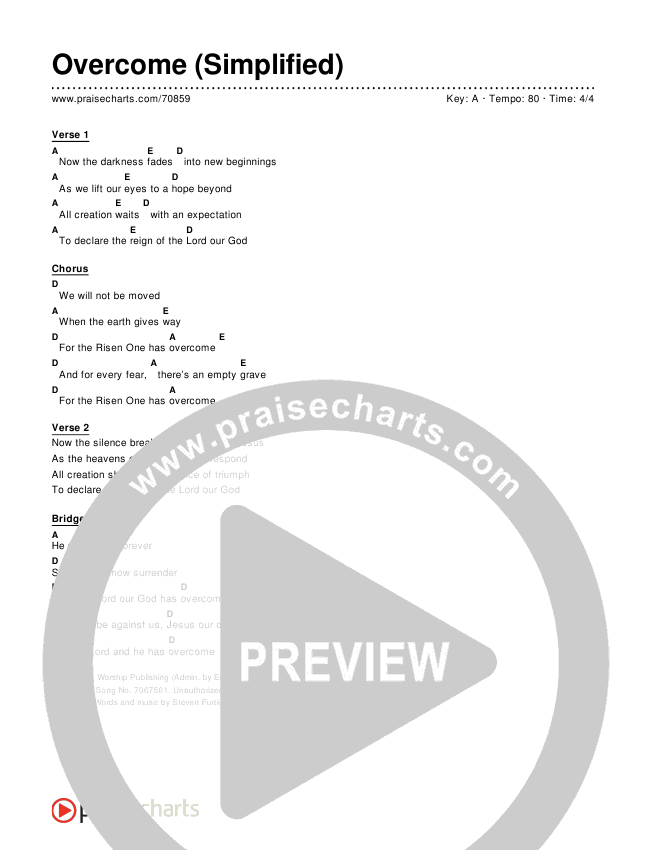 Overcome (Simplified) Chord Chart (Elevation Worship)