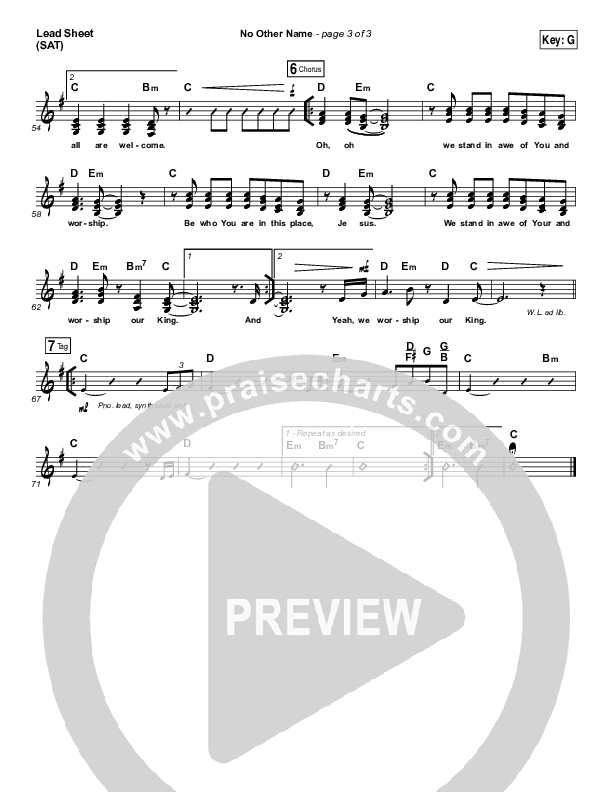 No Other Name Lead Sheet (SAT) (Laura Hackett Park)