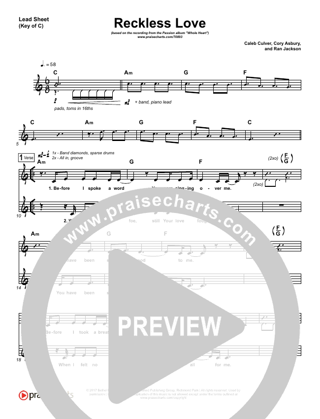Reckless Love Lead Sheet (Melody) (Passion / Melodie Malone)