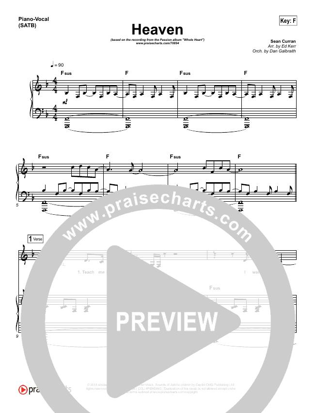 Heaven Piano/Vocal (SATB) (Passion / Sean Curran)